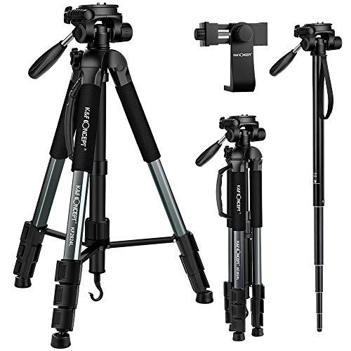 KF-Concept-Trpied-Monopode-Appareil-Photo-CT051-Trepied-Lger-Portable-en-Aluminium-avec-Clip-de-Tlphone-4-Sections-Charge-4kg-pour-DSLR-Camra-Canon-Nikon-0