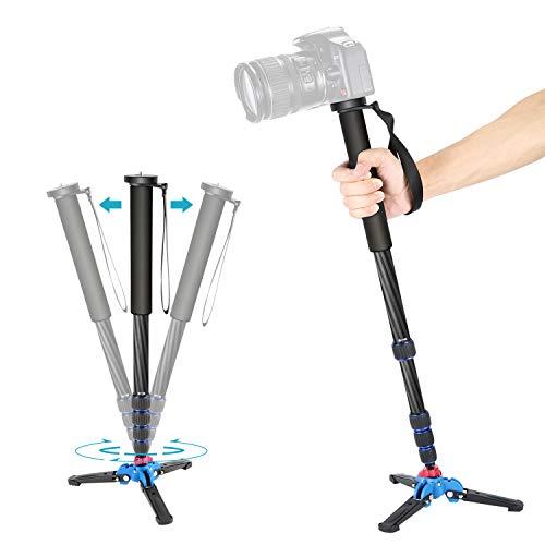 Neewer-Monopode-Extensible-de-Camra-en-Fibre-Carbone-avec-Base-de-Support-en-Trpied-Dtachable-Pliable-5-Sections-Hauteur-Max168cm-pour-Canon-Nikon-Sony-Camra-DSLR-Charge-Admissible-5kg-0