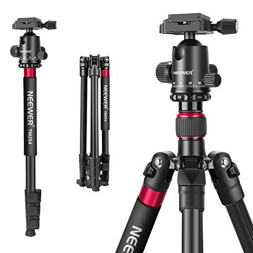 Neewer-2-en-1-Trpied-Monopode-Alliage-Aluminium-168cm-pour-Appareil-Photo-avec-Rotule-360-Degrs-Plaque-Rapide-14-Pouce-et-Sac-pour-DSLR-Vido-Camscopes-Charge-Admissible-12-kg-0